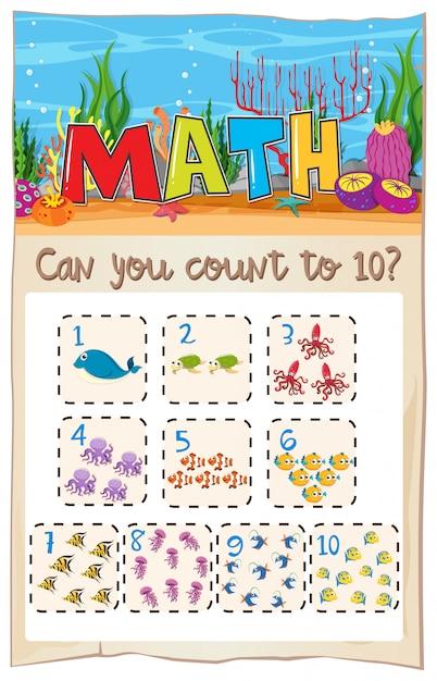 Compter le nombre de maths jusqu'à dix Vecteur Premium