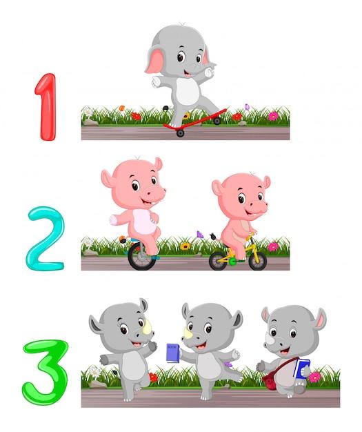 Compter les nombres avec des animaux Vecteur Premium