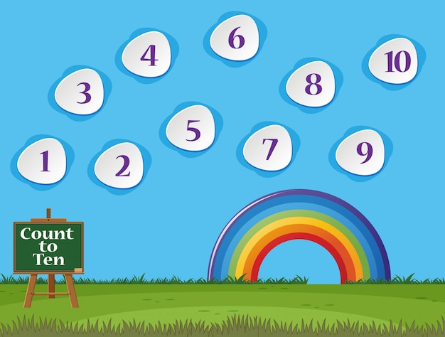 Compter Le Numéro Un à Dix Avec Ciel Bleu Et Herbe Verte Vecteur Premium