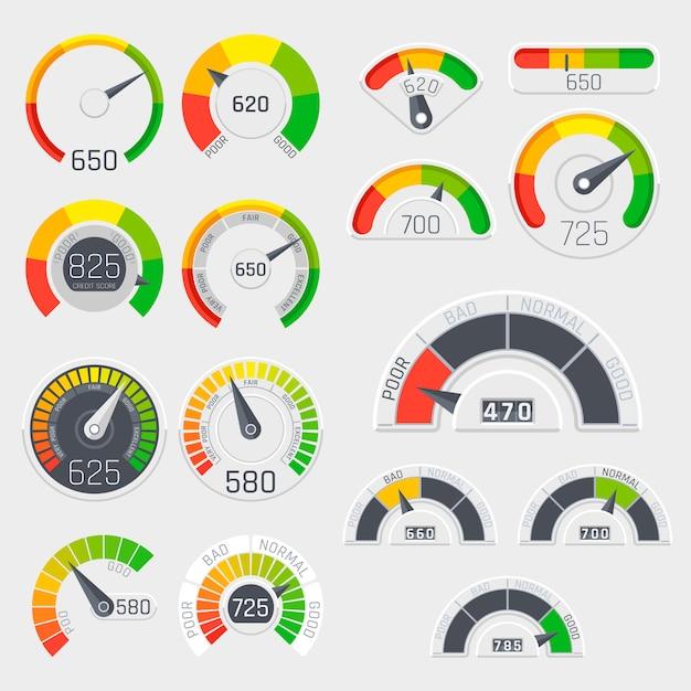 Compteurs de vitesse vectoriels de crédit commercial score. indicateurs de satisfaction des clients avec des niveaux faibles et bons. note de crédit médiocre et bonne illustration Vecteur Premium