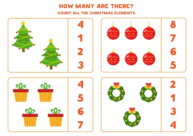 Comptez Tous Les éléments De Noël. Jeu De Maths Avec Sapin De Noël, Cadeau, Guirlande Et Boule. Vecteur Premium