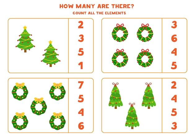 Comptez Toutes Les Couronnes Et Arbres De Noël. Jeu De Mathématiques éducatif Pour Les Enfants. Vecteur Premium