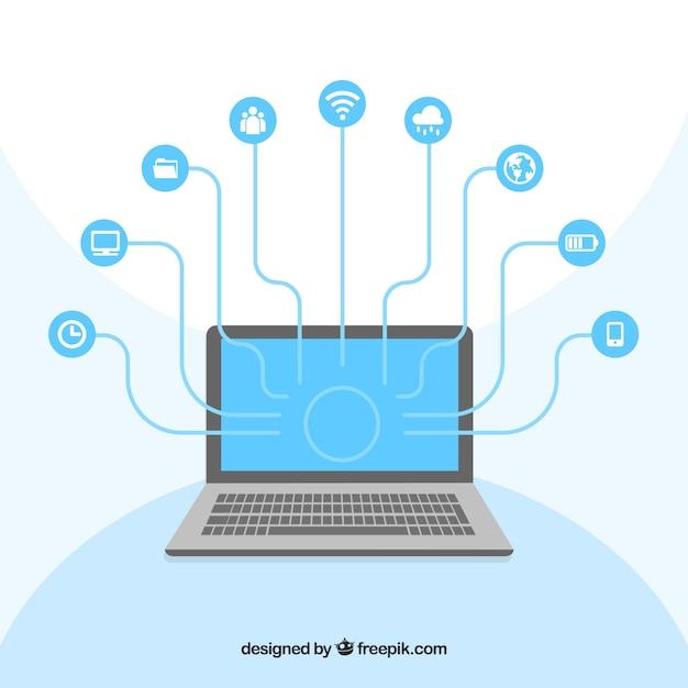 Computer réseautage social Vecteur gratuit