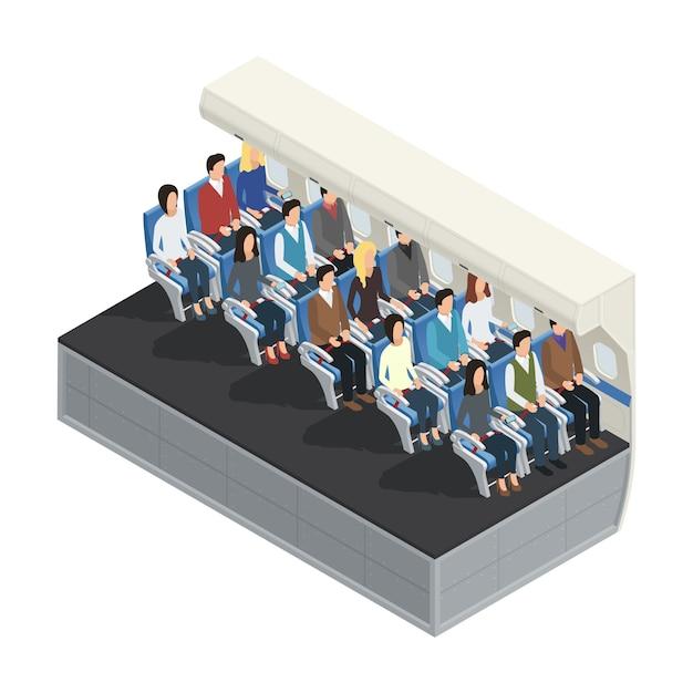 Concept 3d isométrique intérieur avion coloré avec des passagers assis sur l'illustration vectorielle du conseil Vecteur gratuit