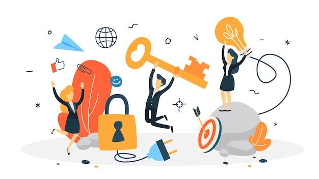 Concept D'accès. Protection Des Données Et Confidentialité Des Informations Personnelles Sur Internet. Illustration Vecteur Premium