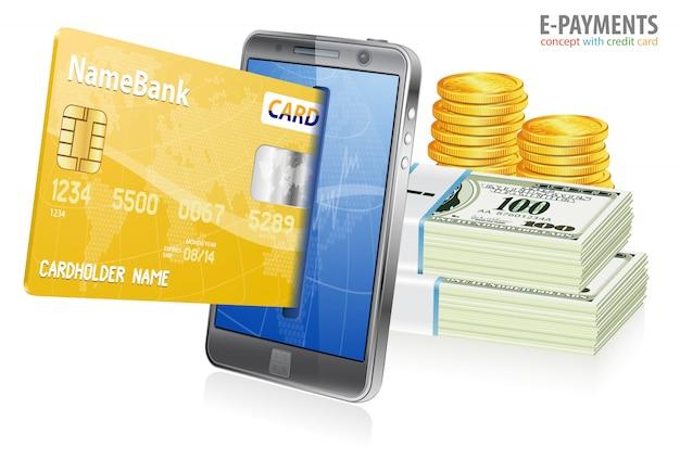 Concept d'achat sur internet et de paiements électroniques Vecteur Premium
