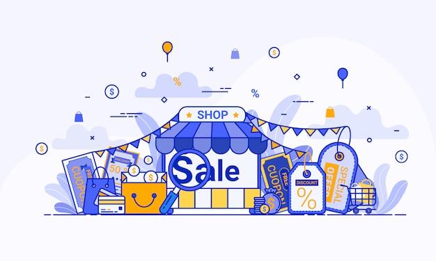 Concept D'achat En Ligne Pour La Page De Destination Web, Le Marketing Numérique Sur Le Site Web Et L'application Mobile. Vecteur gratuit