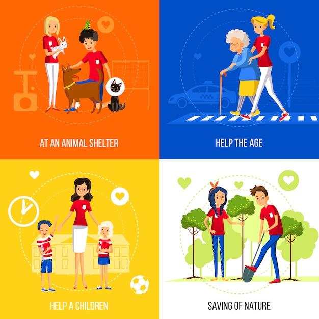 Concept d'action de bénévoles sur fond coloré Vecteur gratuit