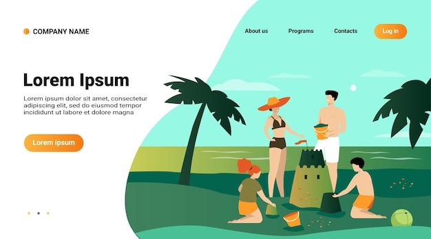Concept D'activités Familiales D'été. Enfants, Maman Et Papa Faisant Du Château De Sable Sur La Plage Vecteur gratuit