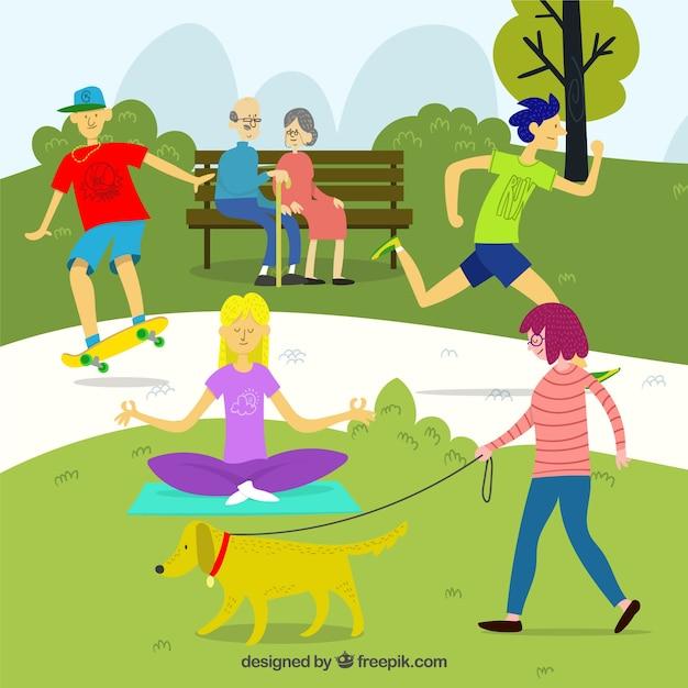 Concept d'activités de loisirs de plein air avec un design plat Vecteur gratuit