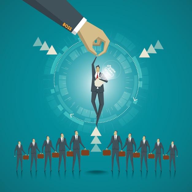 Concept d'affaire. homme d'affaires choisi par le leadership parce qu'il y a un concept et une vision positifs. Vecteur Premium