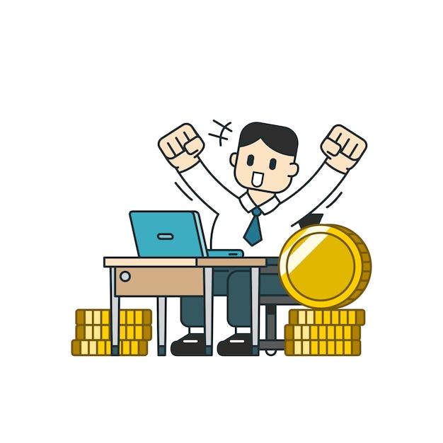 Concept d'affaires un homme d'affaires avec une grosse pile de pièces Vecteur Premium