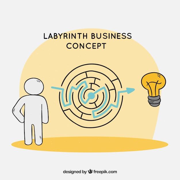 Concept D'affaires Avec Labyrinthe Dessiné à La Main Vecteur gratuit