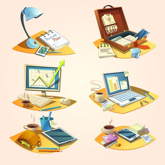 Concept d'affaires sertie d'icônes de travail de bureau de dessin animé rétro Vecteur gratuit
