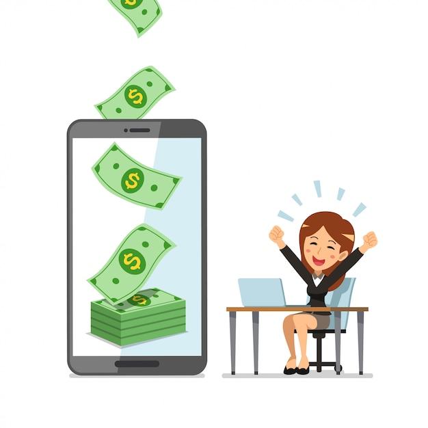Concept D'affaires Smartphone Dessin Animé Aider La Femme D'affaires à Gagner De L'argent Vecteur Premium