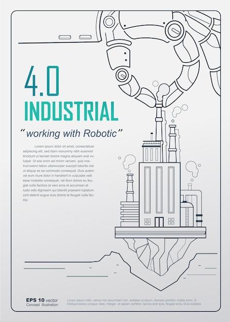 Concept D'affiche Industrielle 4.0 Vecteur Premium