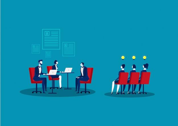 Concept d'agence rh. ressource humaine. candidats de recherche et de sélection. entretien d'embauche et recrutement.llustration. Vecteur Premium