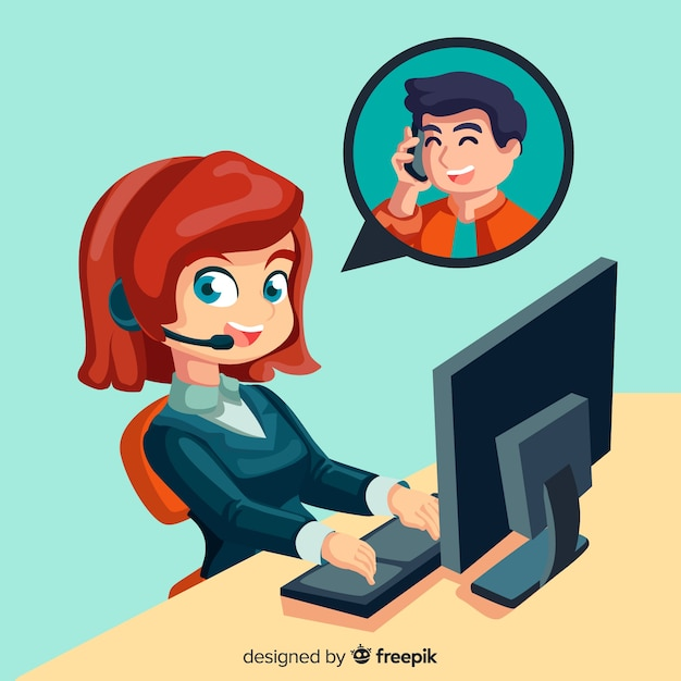 Concept d'agent de centre d'appel féminin Vecteur gratuit