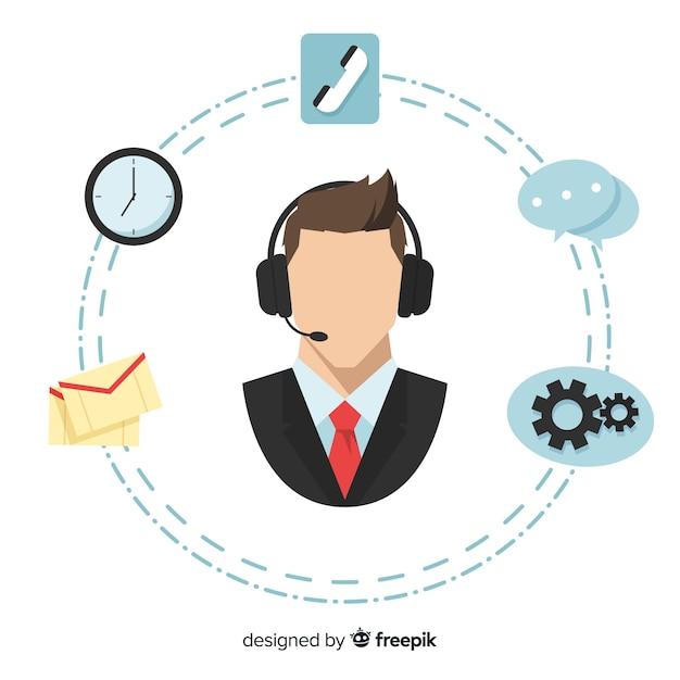Concept d'agent de centre d'appel plat Vecteur gratuit