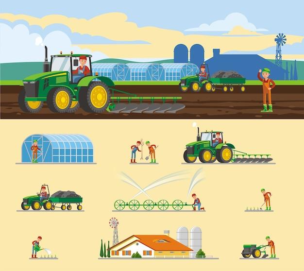 Concept Agricole Coloré Vecteur gratuit