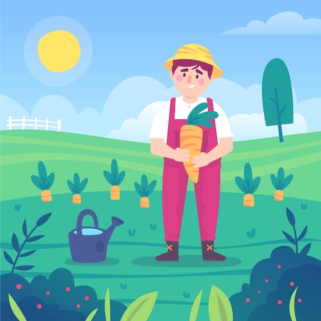 Concept D'agriculture Biologique Vecteur Premium