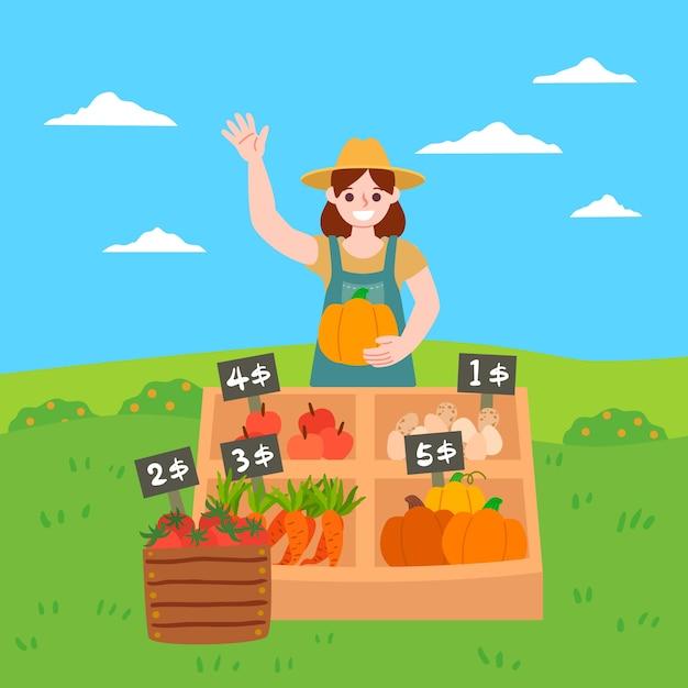 Concept D'agriculture écologique Avec Des Légumes Vecteur gratuit