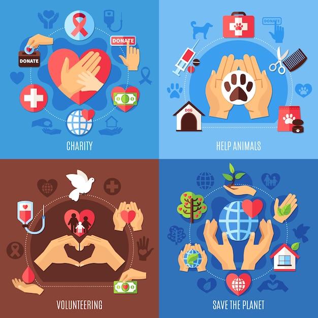 Concept d'aide à la charité Vecteur gratuit