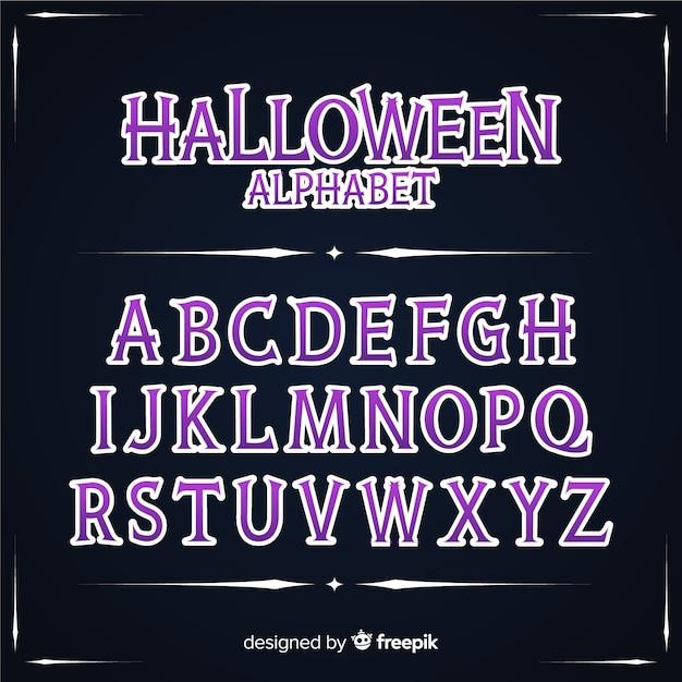 Concept d'alphabet halloween vintage Vecteur gratuit