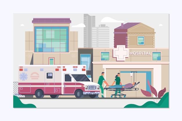 Concept d'ambulance de médecine dans un style plat Vecteur Premium