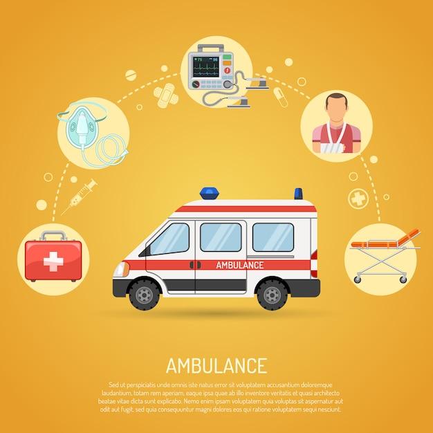 Concept d'ambulance d'urgence médicale Vecteur Premium