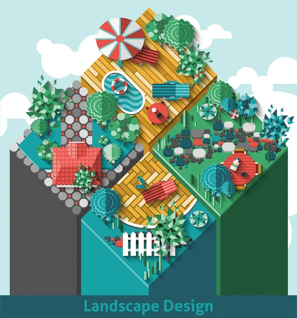 Concept d'aménagement paysager Vecteur gratuit