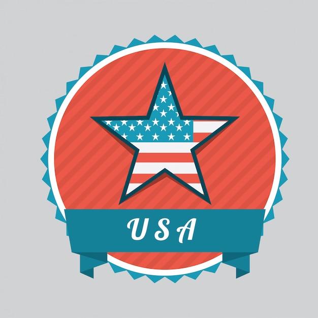 Concept américain avec ruban Vecteur gratuit