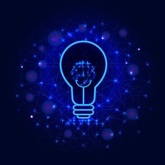 Concept D'ampoule De Lignes, De Points Et De Triangles Sur Fond Bleu Abstrait. Ampoule Vecteur Premium