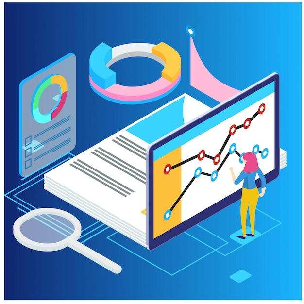 Concept D'analyse Statistique Et Statistique De Données Vecteur Premium
