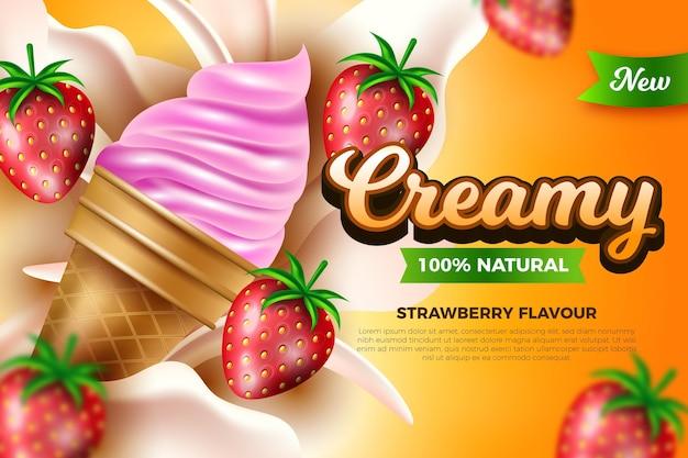Concept D'annonce De Crème Glacée Réaliste Vecteur gratuit