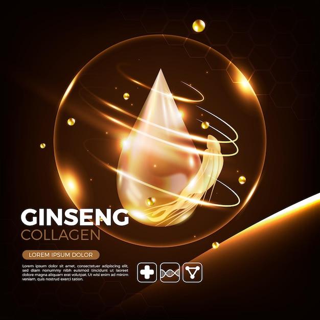 Concept D'annonce De Ginseng Réaliste Vecteur gratuit