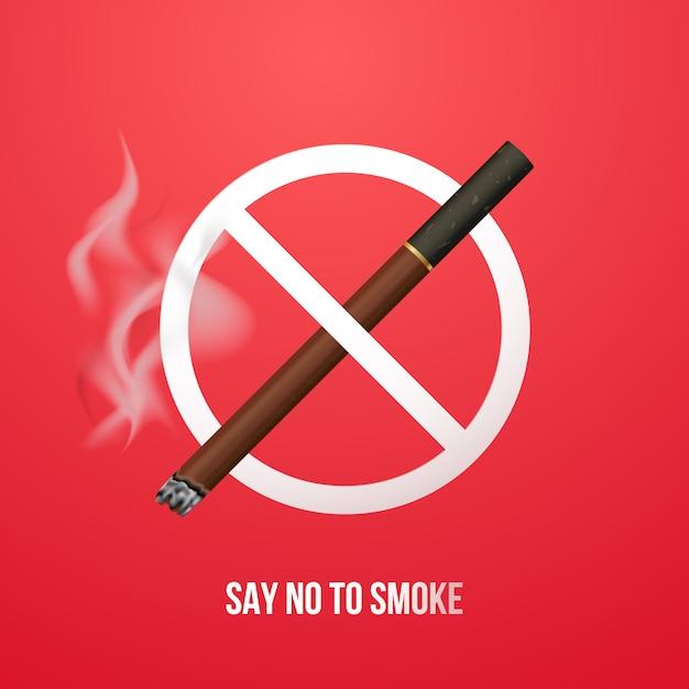 Concept Anti Bannière De Fumer. Vecteur Premium