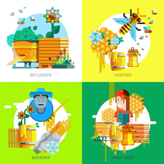 Concept d'apiculture coloré Vecteur gratuit