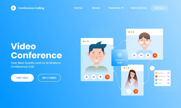 Concept d'appel vidéo en ligne avec écran de smartphone Vecteur Premium