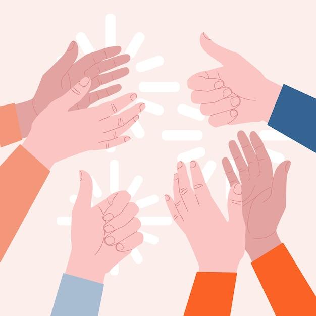 Concept D'applaudissements. Les Mains Frappent Et Montrent Les Pouces Vers Le Haut. Idée D'appréciation Et Ovation. Illustration Vecteur Premium