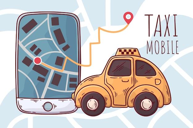 Concept D'application Pour Taxi Vecteur gratuit