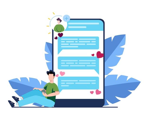 Concept D'application De Rencontres Et De Communication En Ligne. Relation Virtuelle Vecteur Premium