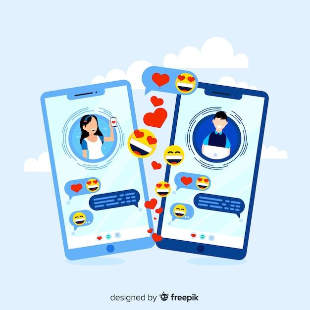 Concept d'application de rencontres avec des émoticônes Vecteur gratuit