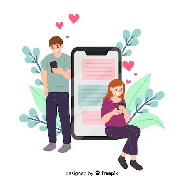 Concept d'application de rencontres pour les médias sociaux Vecteur gratuit