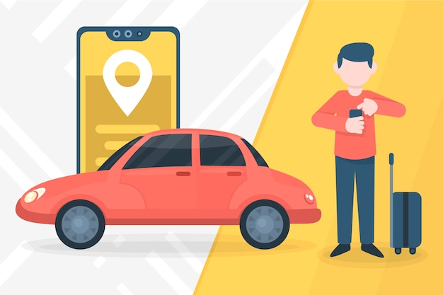 Concept D'application De Service De Taxi Vecteur gratuit