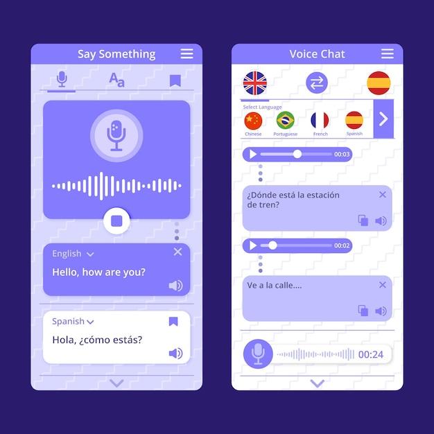 Concept D'application De Traducteur Vocal Vecteur gratuit
