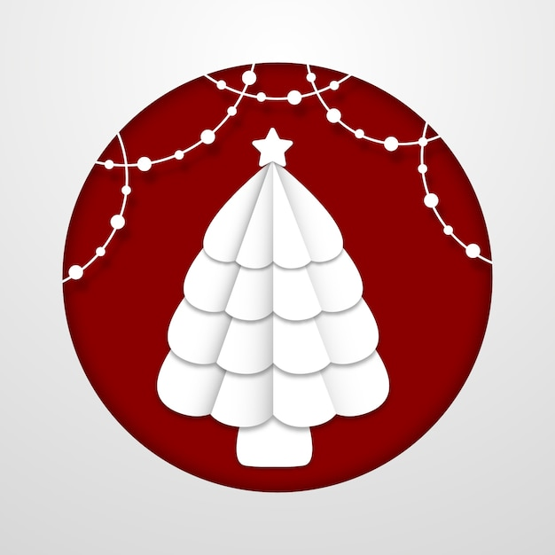 Concept D'arbre De Noël Dans Le Style De Papier Vecteur gratuit