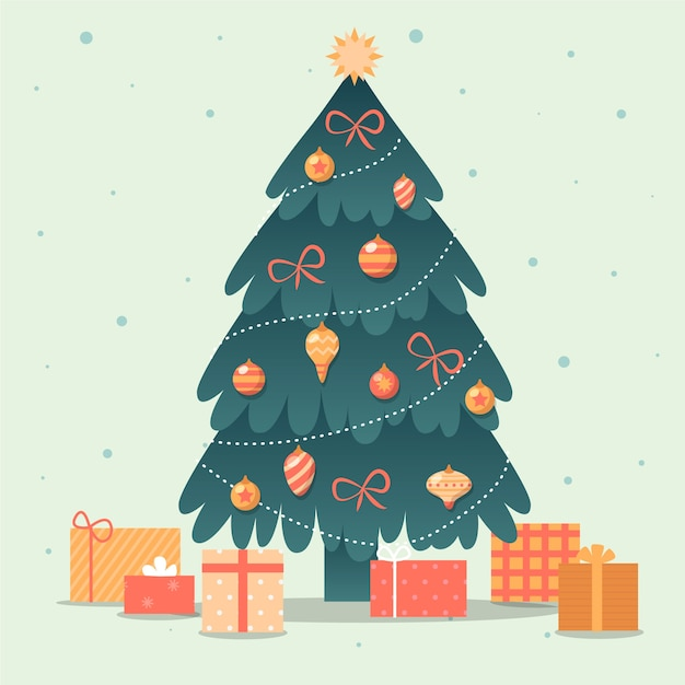 Concept D'arbre De Noël Avec Un Design Vintage Vecteur gratuit