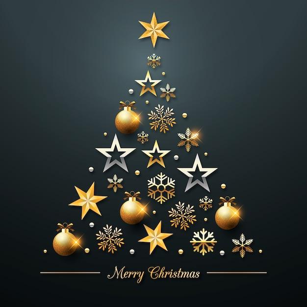 Concept D'arbre De Noël Fait D'une Décoration Dorée Réaliste Vecteur gratuit