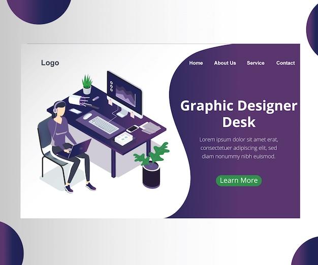 Concept d'art isométrique d'un bureau de concepteur graphique. Vecteur Premium